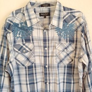 Eighty Eight eagle embroidery men's shirt